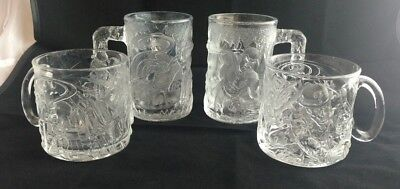 1995 McDonalds Batman Forever Glass Mugs Complete Collectors Set Of 4