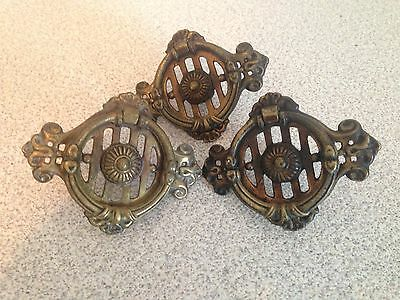 Set Of 3 Antique Brass Colonial Revival Ring Pull Drawer/Door Pulls