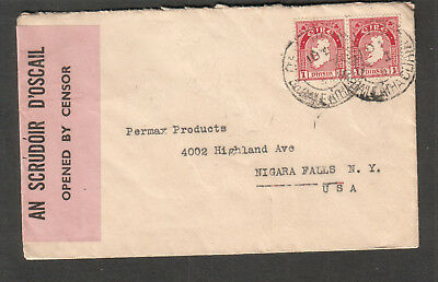 Ireland 1942 WWII SP1 105 censor cover Dublin to Niagara Falls NY