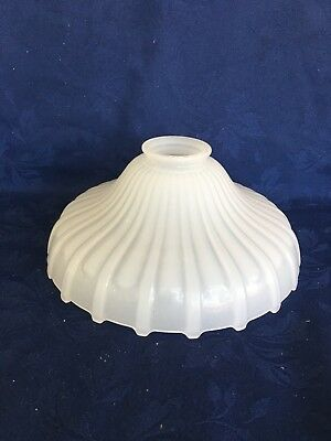"Vintage Milk Glass Ribbed Opalescent 83/4"" Torchiere  Floor Lamp Shade Antique"
