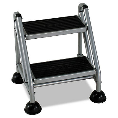 Cosco Rolling Commercial Step Stool 2-Step 19 7/10 Spread Platinum/Black