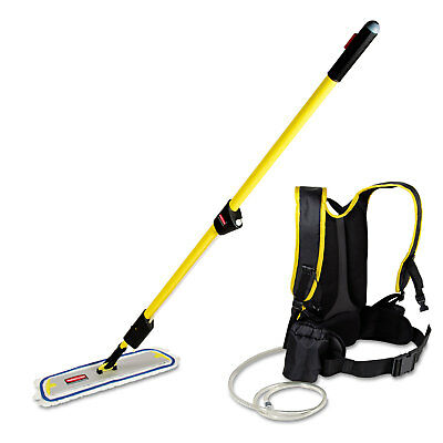 """Rubbermaid Commercial Flow Finishing System 56"""" Handle 18"""" Mop Head Yellow Q979"""