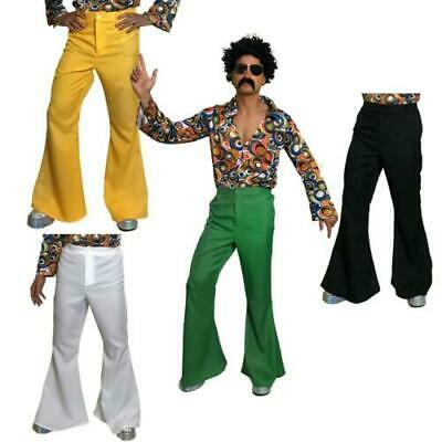 Mens 60s Flares Flared Trousers Adult Hippy 70s Disco Hippie Fancy Dress Costume