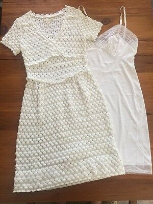 Vintage 1960s Designer MARTHA HILL White KNIT DRESS LEICESTER UK w/ Slip England
