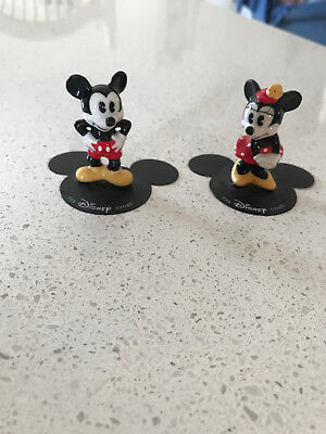 "Vintage 1980's Disney Mickey & Minnie Mouse Ceramic Porcelain 2"" Figurines"