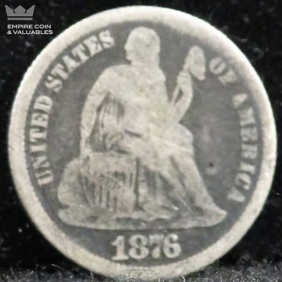 1876-Carson City Seated Liberty Dime, Circulated *D3