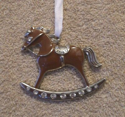 Jeweled Enamel Silver Plated  ROCKING HORSE Christmas Ornament - NIB