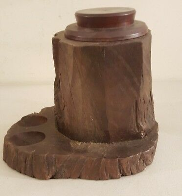 Antique Black Forest Germany Victorian Humidor Pipe Cigar Tobacco Jar Stand