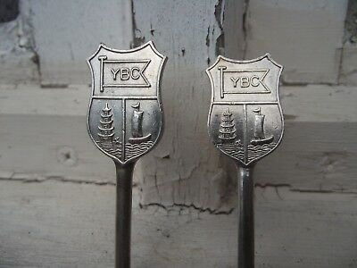 2 antique Chinese / shanghai  yangtze boat club Silver Spoons by tuck chang
