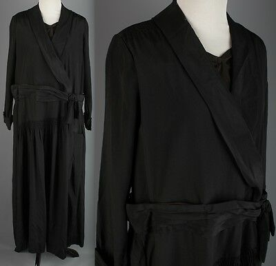 VTG AS-IS 1920s Black Rayon Sheath Dress #1627 20s Flapper
