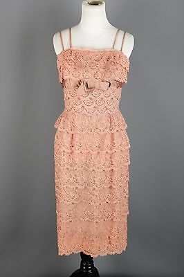 VTG 50s 60s Dusty Rose Tiered Lace Sheath Dress #1461 1950s 1960s