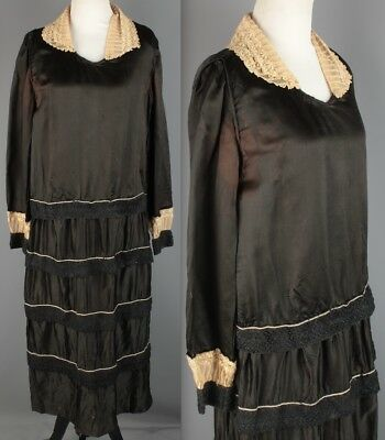 VTG 1920s Women's Black Silk Satin Tiered Dress #1993 20s Flapper