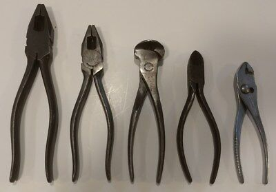 "Lot- 5 Crescent Pliers Lineman 8""& 50-7, Nippers 72-6, Cutters 942-6, G25 Slip"