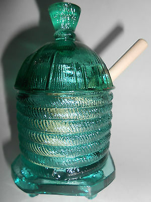 Teal Green Blue glass honey pot bee hive pattern jar dish mustard w/ dipper aqua