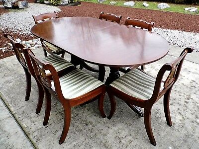"Mid-Century ""Thomas Glenister"" Regency Style Mahogany Dining Table & Lyre Chairs"