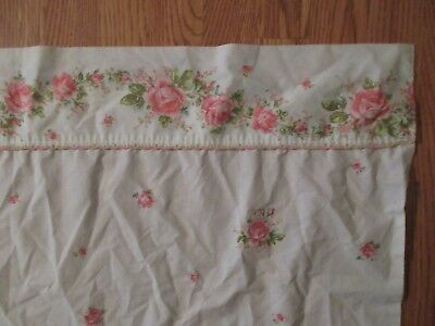 VTG SHABBY SWEET COTTAGE KING FLAT SHEET, white with pink roses, trim on edge