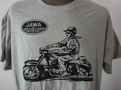 JAWA ★ Heavy T-Shirt * NEU Siebdruck * CZ-Logo * CSSR  Motorrad * heather grey
