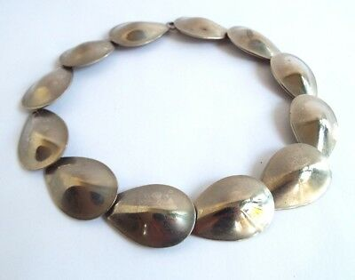 Vintage sterling silver necklace Modernist- linked scales design- Very stylish