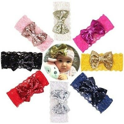 Baby Girls Toddler Lace Sequin Bow Headband Hair Band Accessories Headwear LD