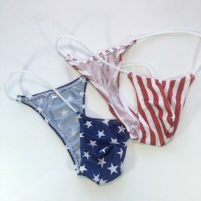 2 pcs K208 Mens Micro Bikini Thong String waist Mini Pouch Star Stripes