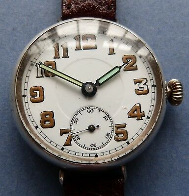 MINT dial WW1 15J FHF? Solid silver (33 mm) Trench watch -1915+new leather strap