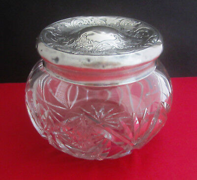 Old Antique Cut Crystal Glass Dresser Jar with Sterling Silver Lid No Mono
