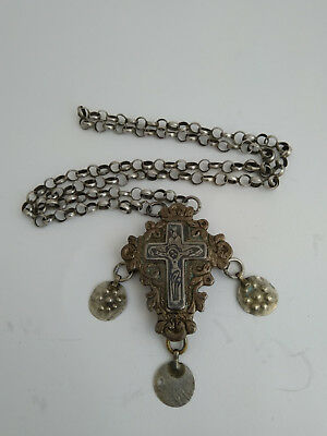 Antique Encolpion Byzantine Silver nielo Orthodox Pectoral Reliquary Cross 16th
