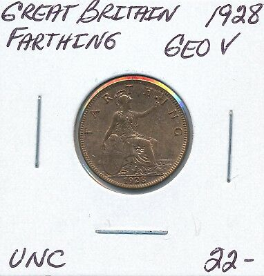Great Britain  Farthing 1928 George V - Unc