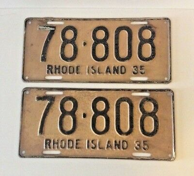 A Pair (2) Of Vintage Rhode Island License Plates - 1935