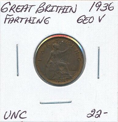 Great Britain  Farthing 1936 George V - Unc