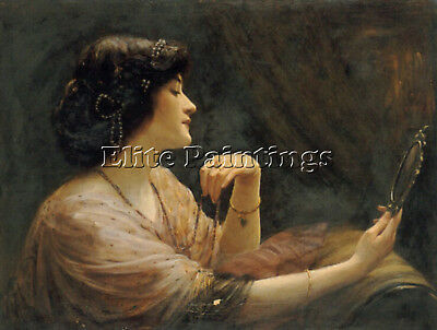 Frank Markham Skipworth The Mirror Artist Painting Oil Canvas Repro Art Deco