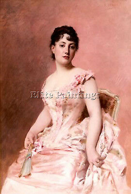 Cabane Edouard Lady In Pink Artist Painting Reproduction Handmade Oil Canvas