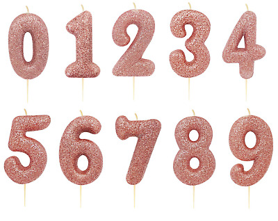 "Rose Gold Glitter Birthday /Anniversary Cake Candles 7 cm /(2.7"") Numbers 0-9"