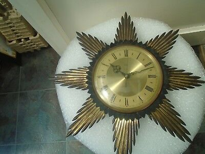 vintage METAMEC sunburst wall clock   unusual attic find clock   TAKE A LOOK