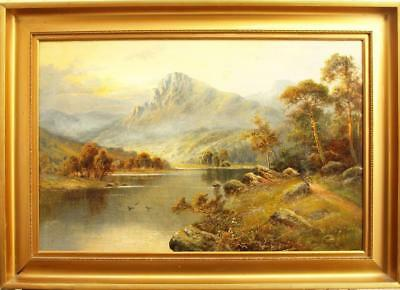 LARGE FINE 19th Century HIGHLAND LANDSCAPE AT SUNSET Antique Oil Painting