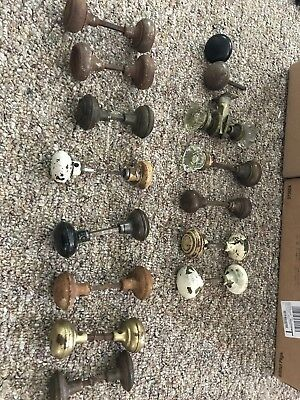 Vintage Lot Of Door Knobs, Glass, Metal, 13 Double Knobs, And 2 Single
