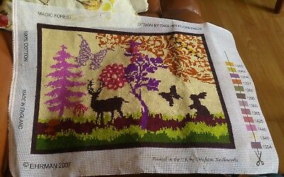 """Completed Tapestry Ehrman 2007 Magic Forest 18 X 13.5"""" English Eccentrics"""