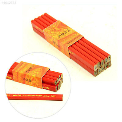 Practical 10pcs 175mm Carpenter Pencils Builders Woodworking Stationery