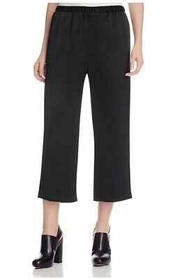 Nwt Eileen Fisher Black Silk Crepe Back Satin Straight Cropped Pants L $258