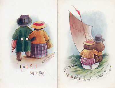 2 OLD POSTCARDS by CYNICUS