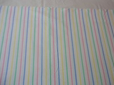 Vintage 1970s Lady Pepperell Muslin Full Size Flat Sheet Pastel Stripe Cotton