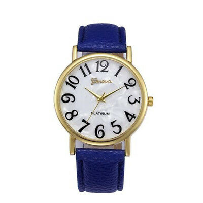 Fashion Leather Strap Round Dial Women Girl Analog Quartz Wrist Watch Gift