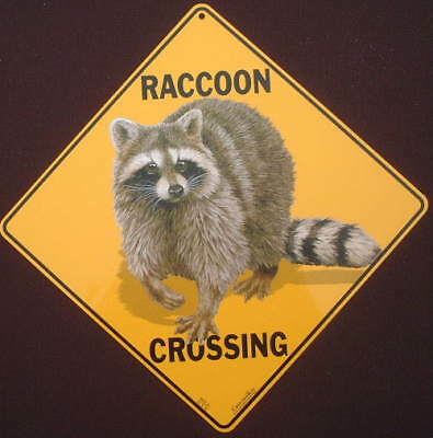 RACCOON CROSSING Sign aluminum decor novelty picture  wildlife animals raccoons