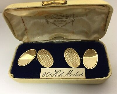 9Ct Gold Cufflinks Vintage 1965 In Box Birmingham S&d Maker Mod Era