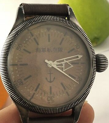 """<REPRO> WW2 JAPAN NAVAL MILITARY s8.75-10.25"""" LEATHER BAND WATCH 072218fAE"""