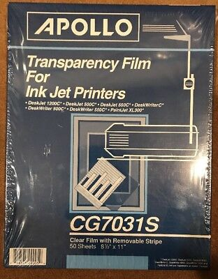 Apollo Transparency Film Clear Ink Jet Printer Removable Stripe CG7031S 50 Sheet