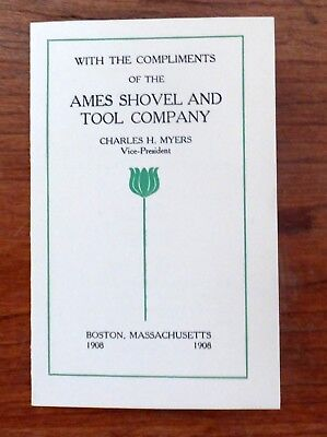 Small 1908 Ames Shovel & Tool Co. of Boston Business Booklet, Company Officers