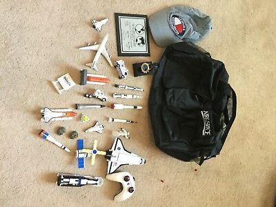 Vintage Assortment NASA Astronaut Toy Lot Watch Hat Bag Shuttle Apollo 11