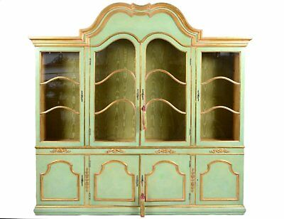 Antique Style Italian Baroque Style Parcel Gilt Green Painted Cabinet, Bookcase