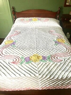 Vintage Chenille Bedspread w/ Pink, Purple, Yellow And Green Floral-Full Size